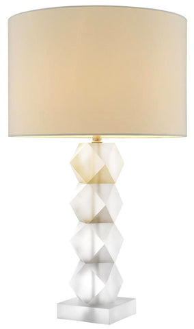 River Table Lamp White and Natural Pair