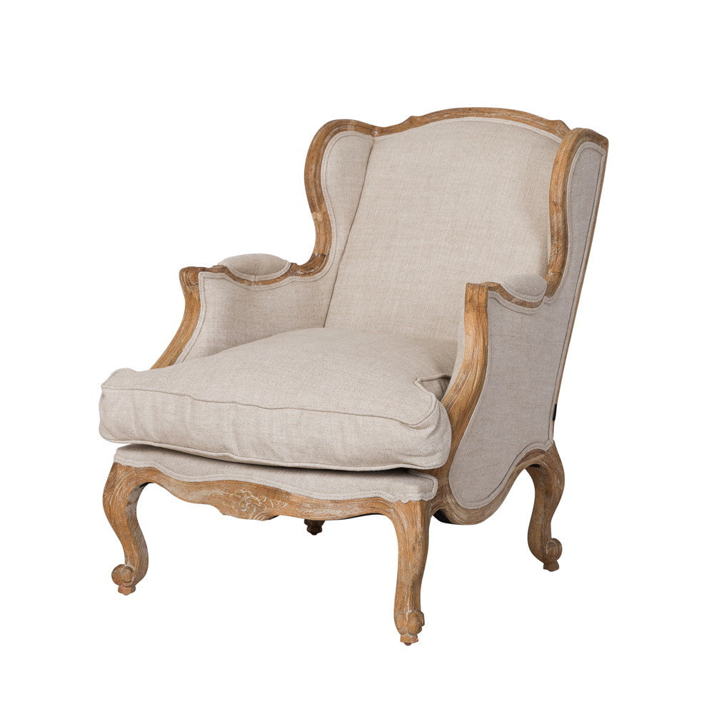 Louis XV Bergere Oak Wing Chair