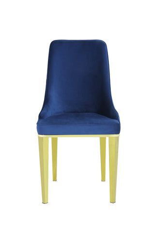 Pair of Lemante Dining Chairs Navy with Gold Legs
