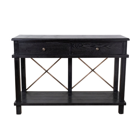Harvest 2 Drawer Console Black