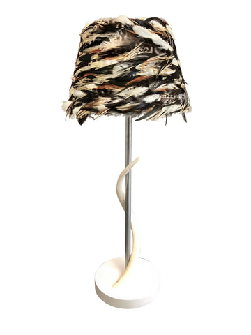 Coque Fields Feather Lamp with Kudu Horn Base