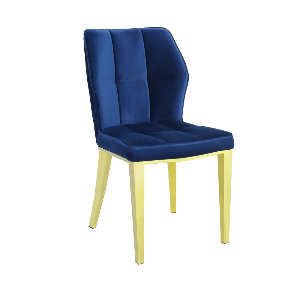 Pair of Geneve Dining Chairs Gold with Navy Velvet