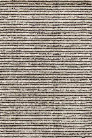 Cut Stripe Woollen Rug Grey