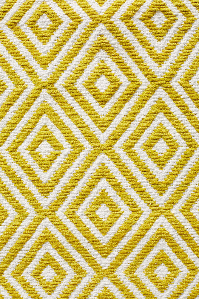 Villa Modern Diamond Rug Yellow and White