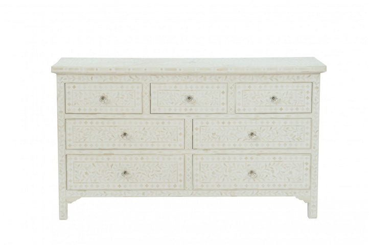 Cordelia Bone Inlay 7 Drawer Chest Floral White