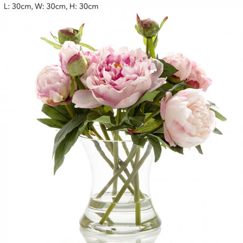 Loletta Peony In Glass Vase Dark Pink