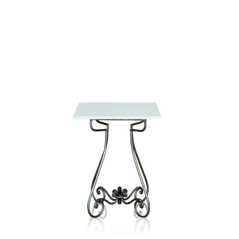 Paris Wrought Iron Occasional Table With Marble Top