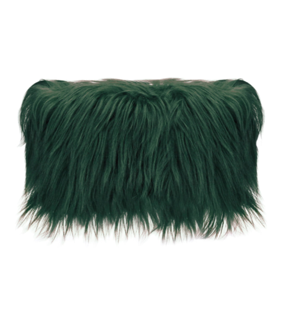 Luxury Goat Fur Cushion Vintage Green