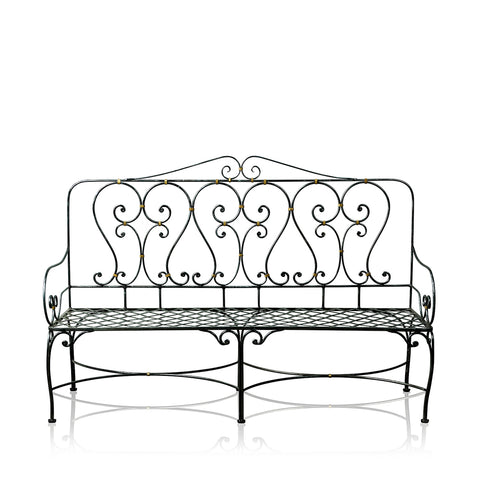Grand Chaise Wrought Iron 3 Seater Bench