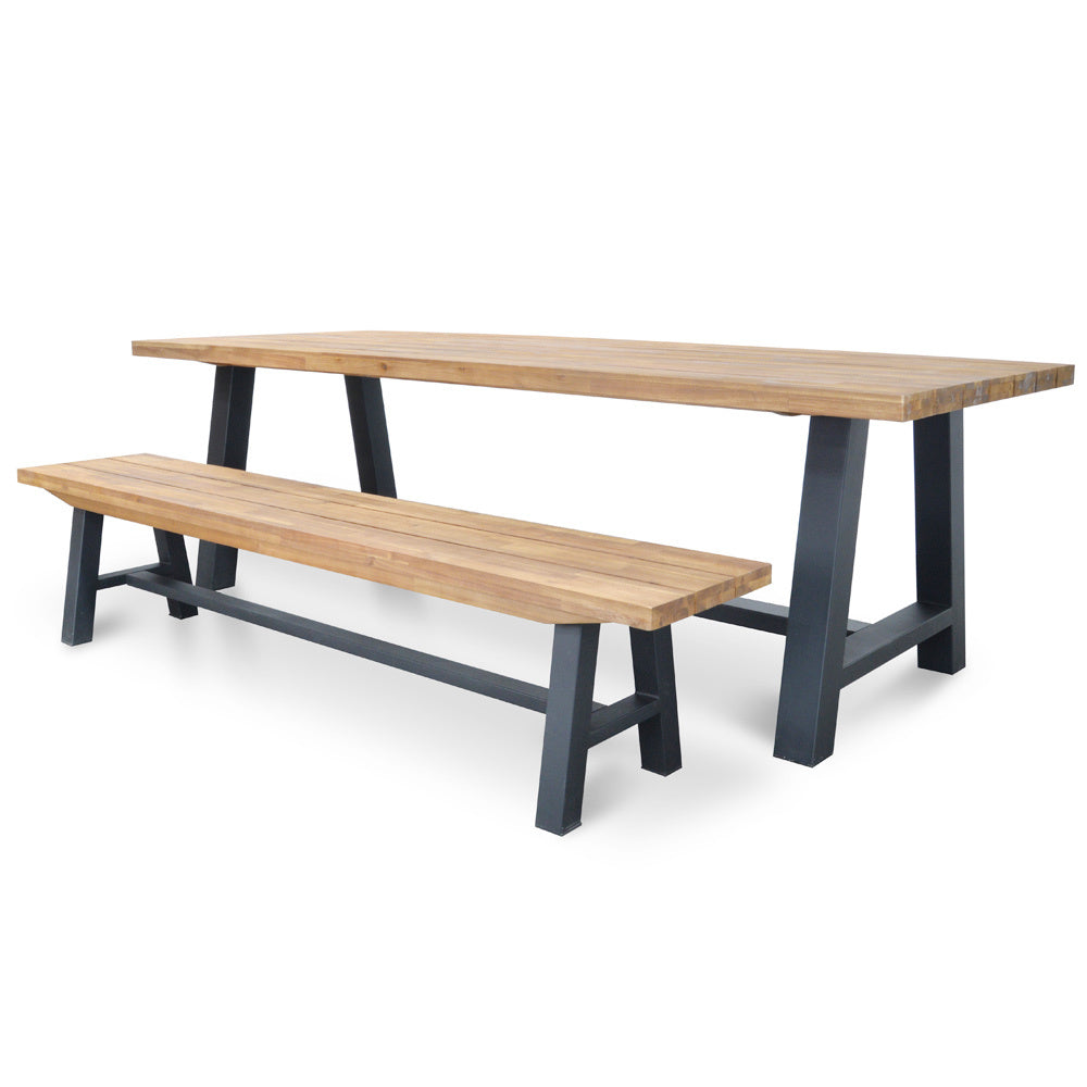 Potoma Indoor/Outdoor Dining Bench Black Leg