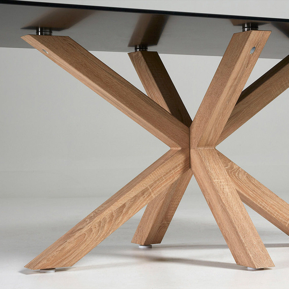 Masa Dining Table Natural Legs with Black Glass Top