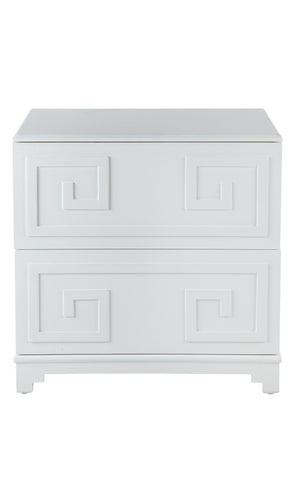 Greek Key Bedside Table White