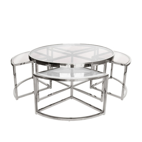 Cocktail Coffee Table Set/3 Black and White
