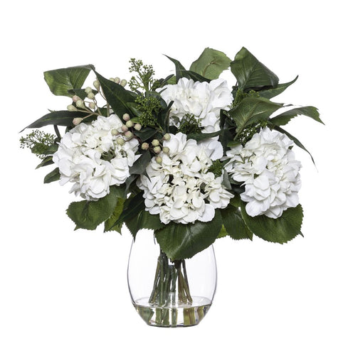 Hydrangea Eucy Mix in Claire Vase White 46cmH
