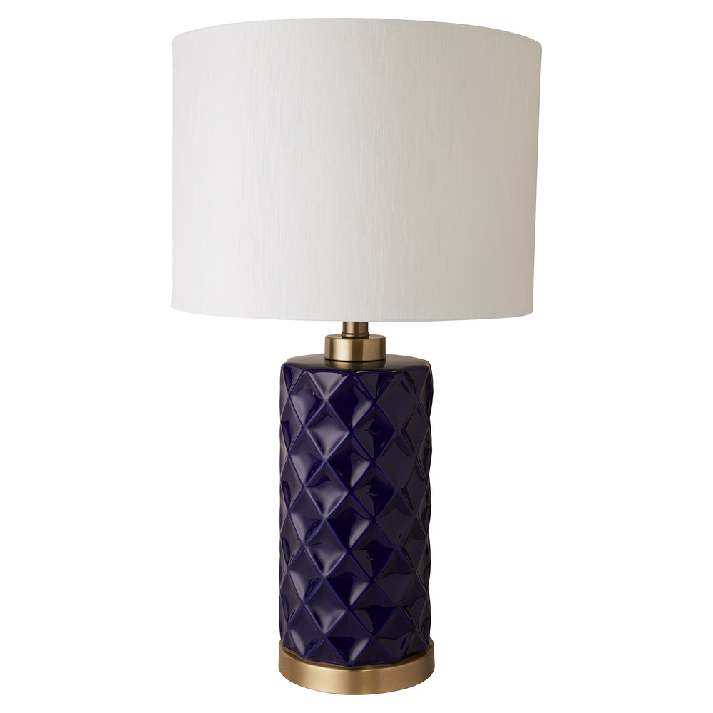 Hampton Blue Lamp with White Shade