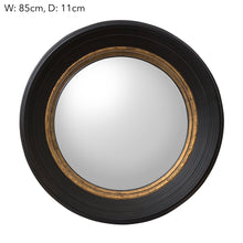 Round Convex Mirror Black Large