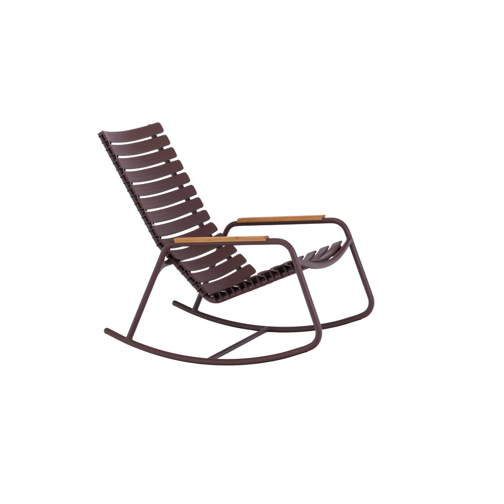 Clips Rocking Chair Plum with Bamboo Armrests & Black Frame