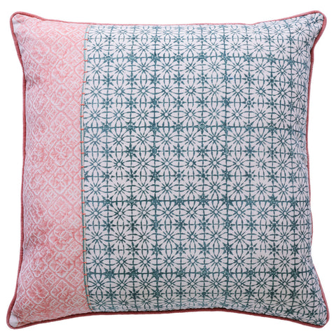 Melba Fringe Velvet Cushion Rose