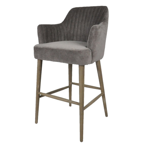 Moulded Dark Elm and Iron Barstool