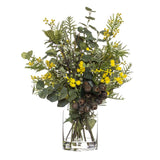 Wattle Gum Nut Mix in Pail Vase Yellow