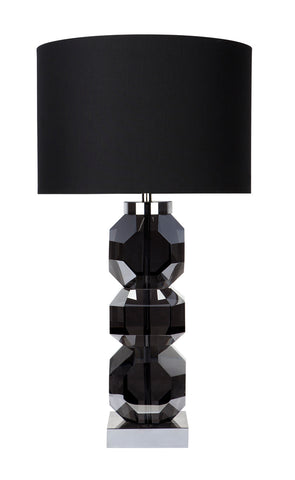 Glass and Nickel Lamp with Dark Grey Shade