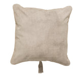 Textured Leather Cushion Light Grey