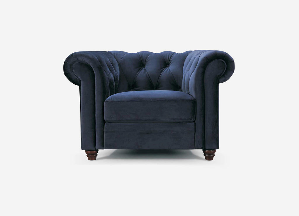 Eliza Chesterfield Armchair Navy Velvet