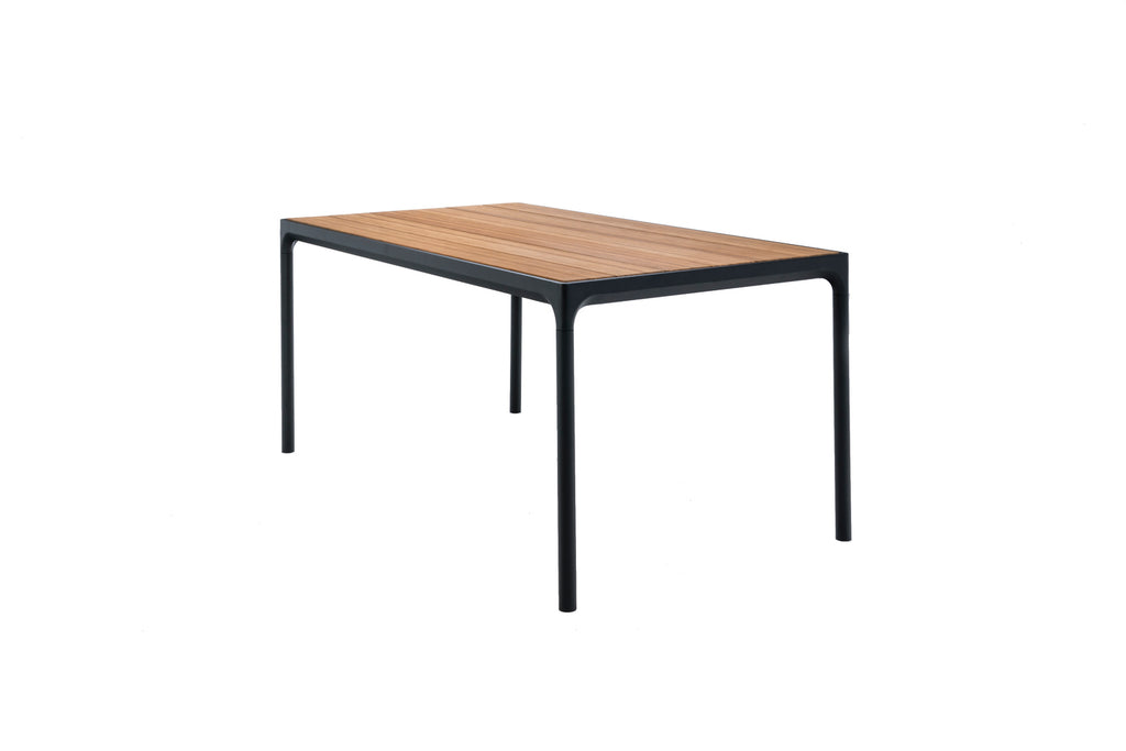 Four Dining Table Black Frame with Bamboo Top 160cm x 90cm