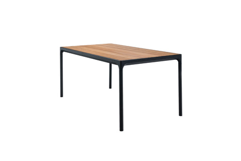 Four Dining Table Grey Frame with Bamboo Top 90cm x 90cm