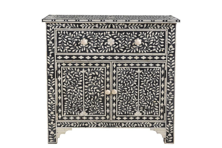 Lalit Florentine Bone Inlay Cabinet Black