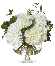 Hydrangea Mix in Cora Bowl White