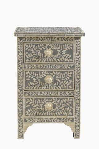 Ishaan Florentine Bone Inlay Bedside Grey