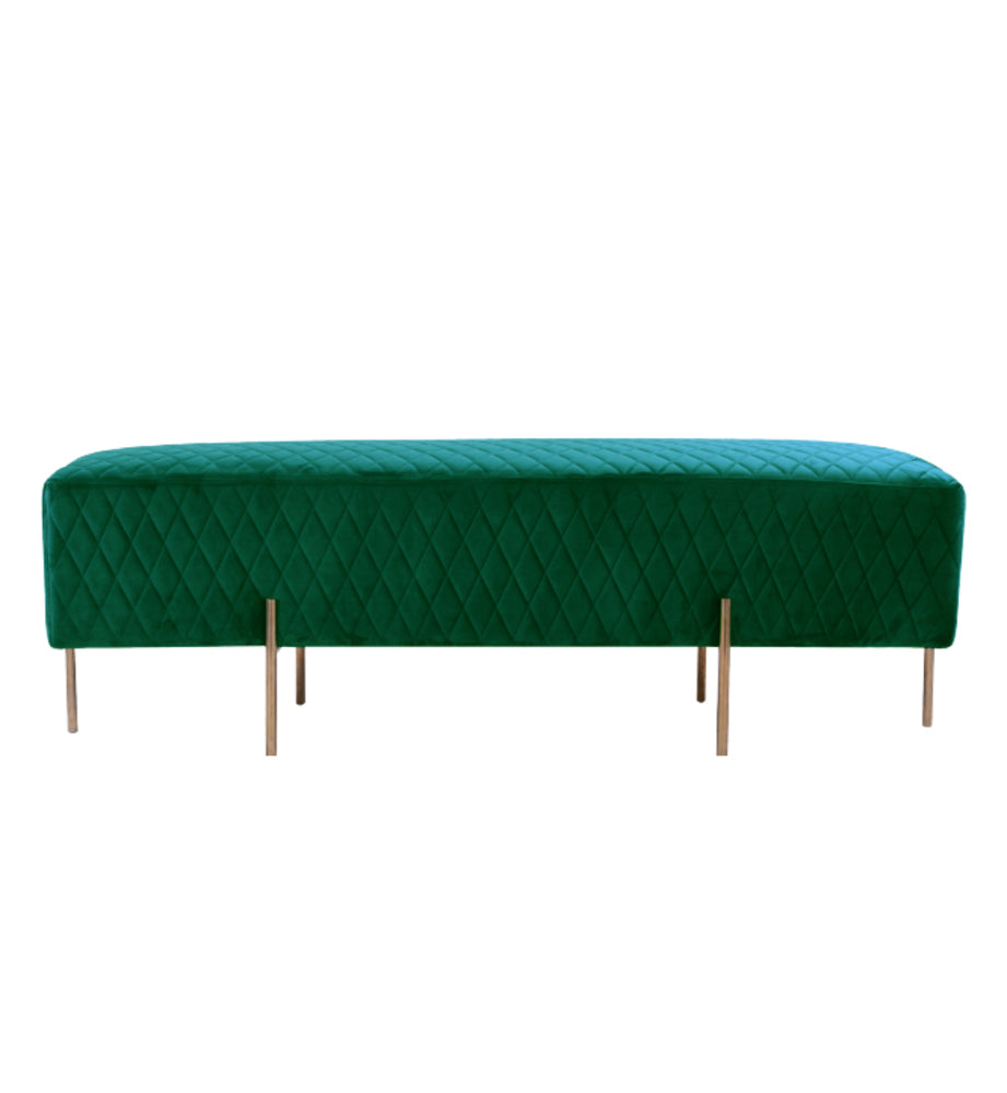 Coco Quilted Bench/Ottoman Ivy Green
