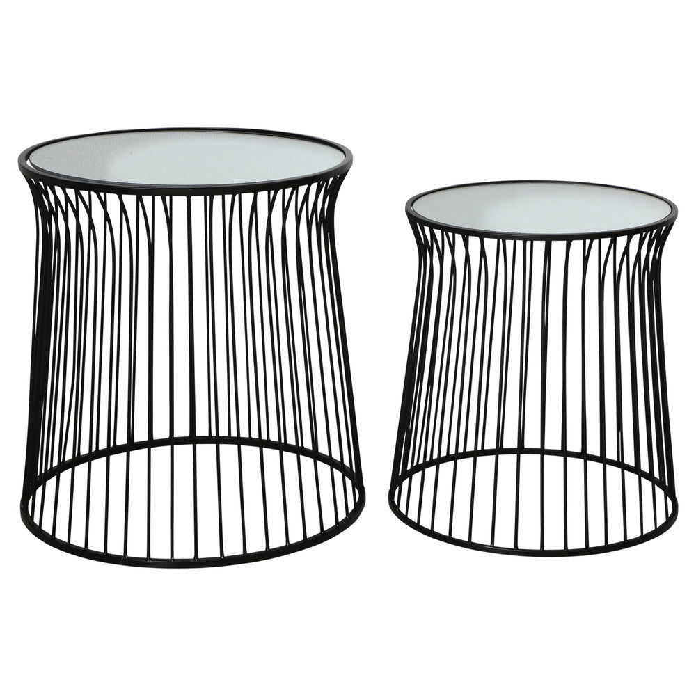 Spun Metal Round Side Tables Black Set/2