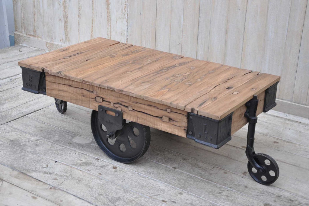 Trolley Coffee Table.Industrial Cart Coffee Table