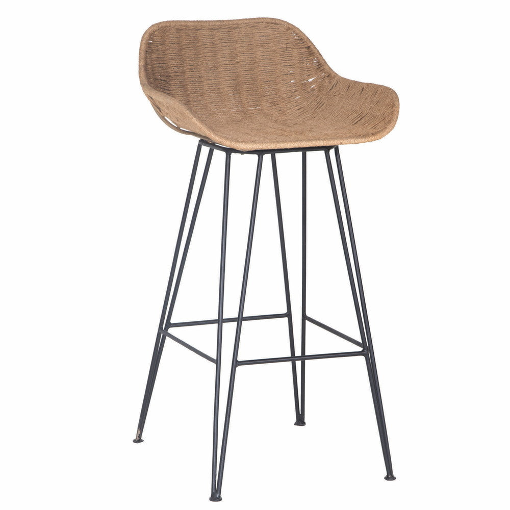 Angola Bar Chair Jute and Black
