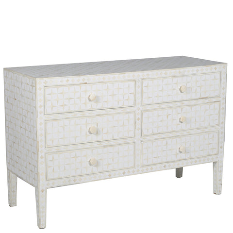 Petra Bone Inlay 6 Drawer Chest Starburst White