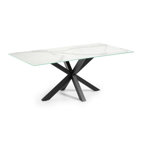 Masa Dining Table Black Legs with Kalos White Ceramic Top