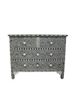 Black and White Bone Inlay 4 Drawer Chest