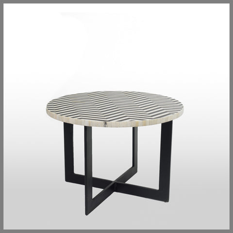 Chevron Bone Inlay Side Table