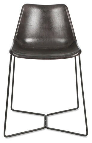 Elm Leather Dining Chair Black