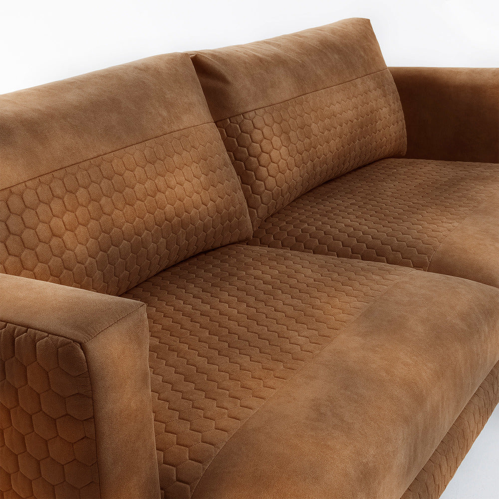 Vincent 3 Seater Sofa Quilted Rust