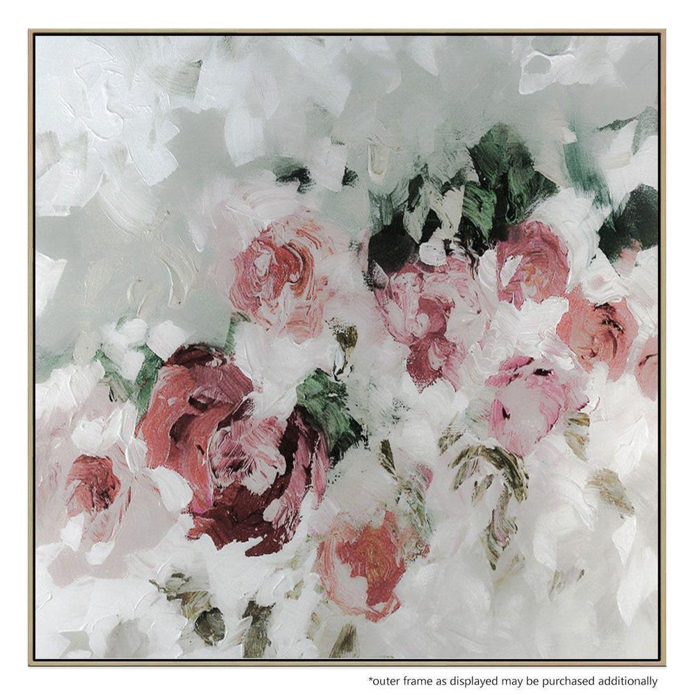 Rose Soul Canvas Painting with Floating Frame
