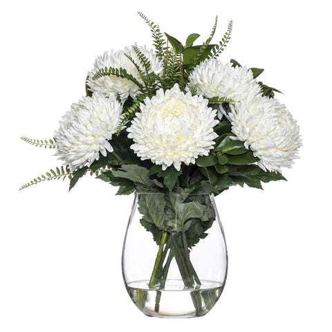 Chrysanthemum Mix in Claire Vase White