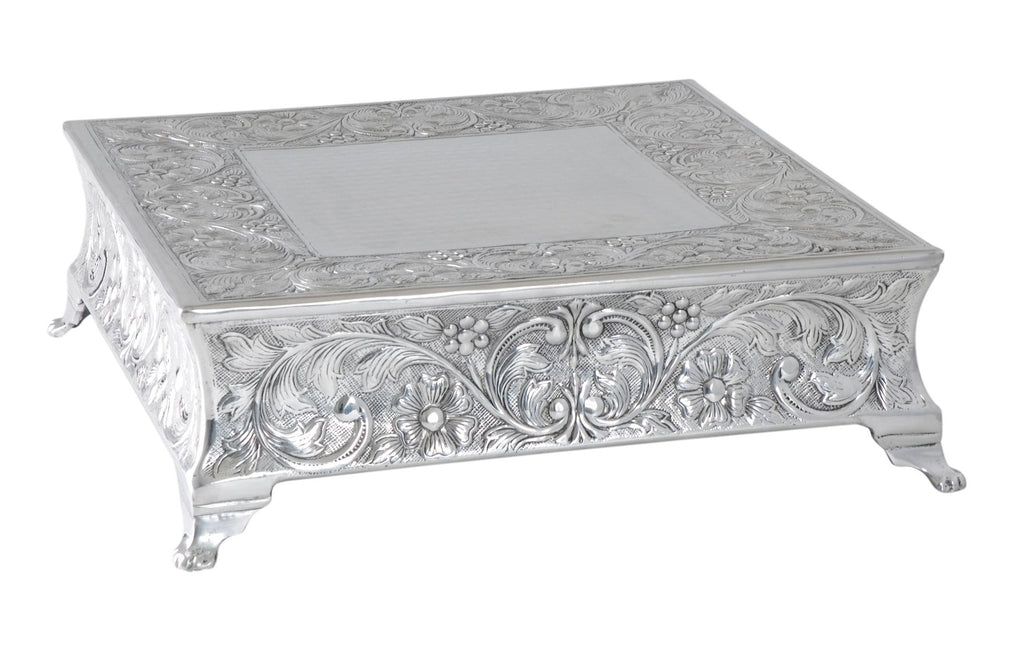 Embossed Traditional Cake Stand Nickel Square