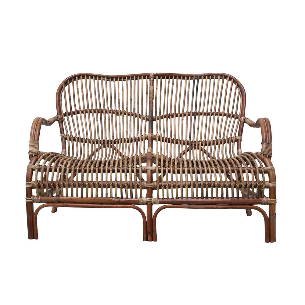Portofino 2 Seat Rattan Sofa Antique