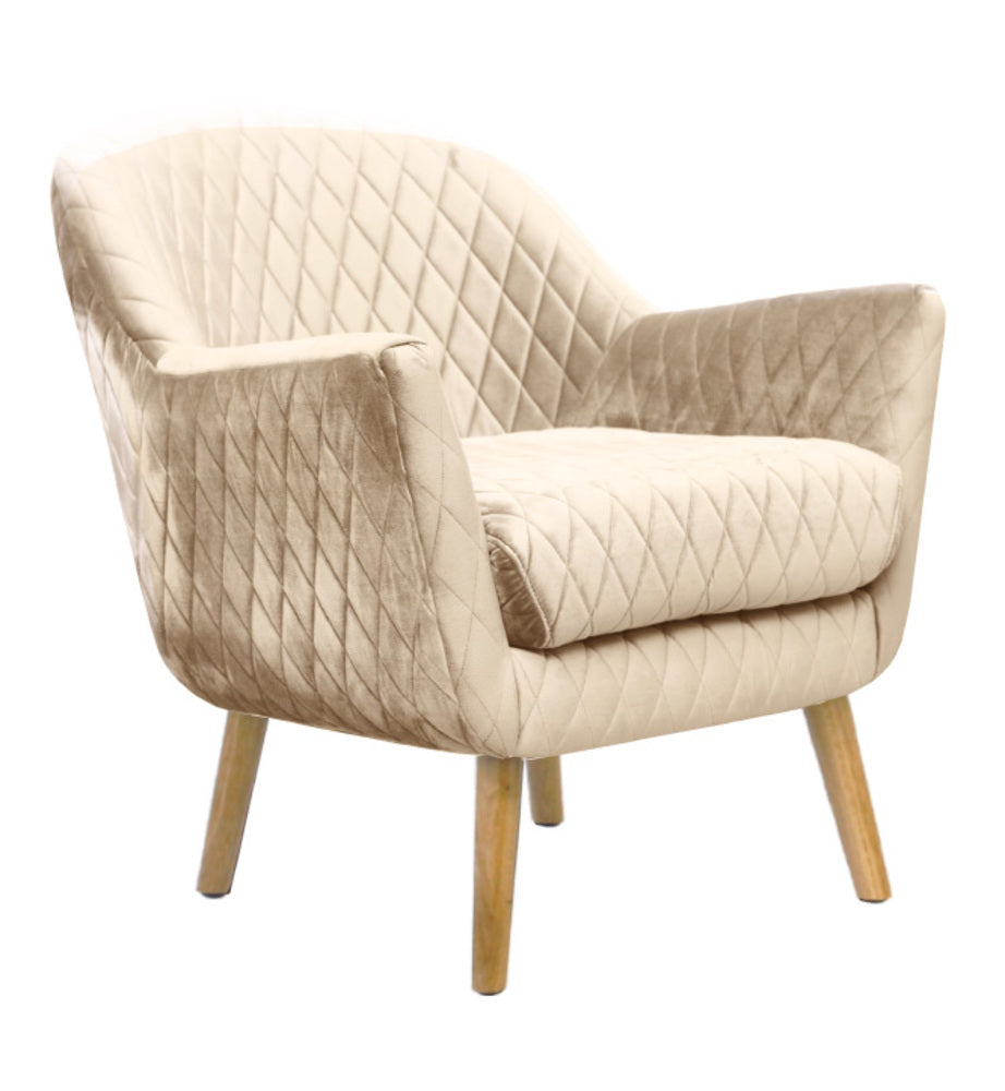 Club Chair Nude with Oak Legs