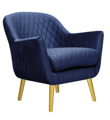 Club Chair French Navy with Gold Legs