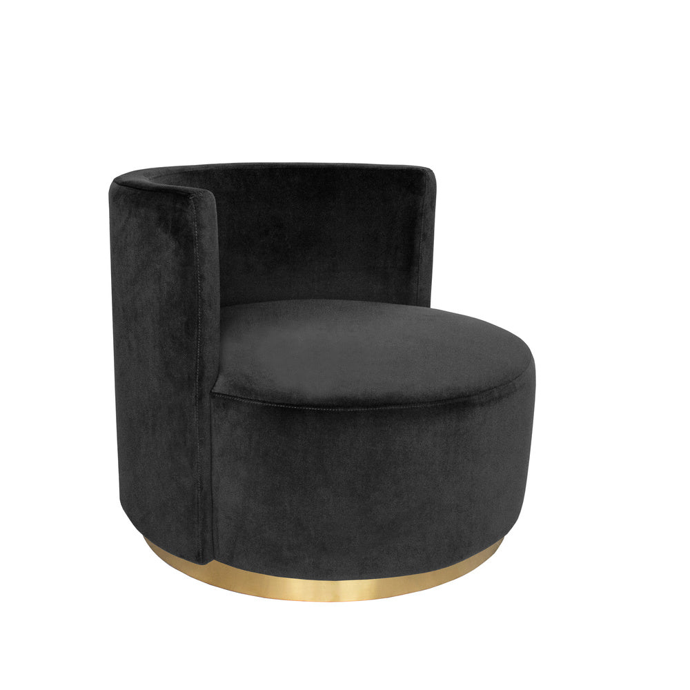 Roma Love Seat Black with Gold Base
