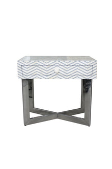 Grey and White Bone Inlay Chevron Bedside Table